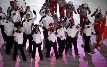 DK: 20180209, PyeongChang, Korea:  PyeongChang 2018 Olympiske Lege. Åbningsceremoni Danmark Foto: Lars Møller UK:  20180209, PyeongChang, Korea:  PyeongChang 2018 Olympic Games. Opening Ceremony. Denmark Photo: Lars Moeller